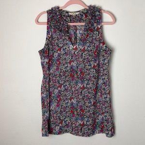 CAbi 355 Liberty ruffle collar floral blouse